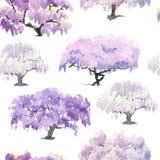 Modèle du jardin chinois fleurissant d'acacia peint dans l'aquarelle Photo libre de droits