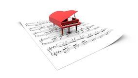 modèle du piano à queue 3D sur une feuille de séparation Image libre de droits