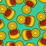 Modèle en boîte de poissons sans couture fond piscinede marchandises bidon de conserve Ornement de vecteur Texture de nourriture illustration libre de droits