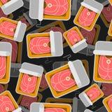 Modèle en boîte de poissons sans couture fond piscinede marchandises bidon de conserve Ornement de vecteur Texture de nourriture illustration stock