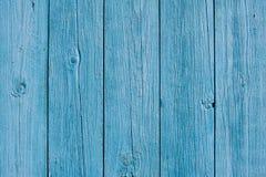 Modèle en bois bleu de fond de barrière Photographie stock libre de droits