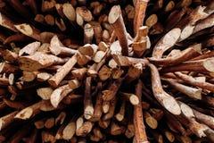 Modèle en bois Papier peint de Browny Travail fait main d'arbre de cannelle photo stock