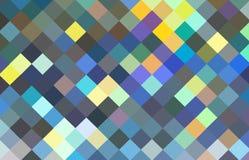 Modèle en cristal jaune bleu d'art de pixel illustration de vecteur