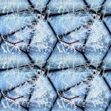 Modèle en relief sans couture d'hiver des pierres couvertes de cristaux de glace et de brindilles congelées images stock