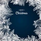 Modèle en verre de Frost Cadre d'hiver sur le fond transparent Illustration de Noël de vecteur Ornement congelé de fenêtre Cadre  illustration libre de droits