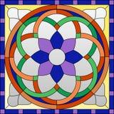 Modèle en verre souillé, ornement gothique Images stock