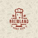 Modèle et emblème sans couture de brasserie de bière de métier Images libres de droits