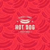 Modèle et emblème sans couture pour le restaurant de hot-dog Illustration Libre de Droits