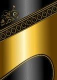 Modèle et frontière d'or avec des croix sur le fond brillant noir Photo stock