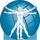 Modèle et globe d'homme de Vitruvian Photo stock