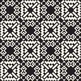 Modèle ethnique carré croisé simple noir et blanc sans couture d'édredon de vecteur Photos stock