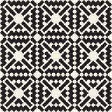 Modèle ethnique carré croisé simple noir et blanc sans couture de vecteur Photographie stock libre de droits