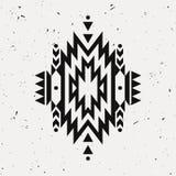 Modèle ethnique décoratif monochrome grunge de vecteur Motifs indiens Photo libre de droits