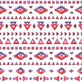 Modèle ethnique d'aquarelle tirée par la main sans couture dans des couleurs rouges Photo stock