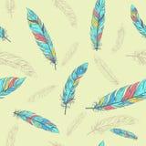 Modèle ethnique sans couture avec des plumes Image stock