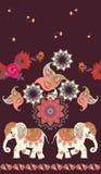 Modèle ethnique sans couture de cru avec les éléphants d'Asie de bande dessinée mignonne, le mandala, les fleurs et l'ornement de illustration stock