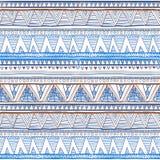 Modèle ethnique tiré par la main abstrait, fond tribal Configuration de vecteur bleu sans couture ethnique de vecteur Photo stock