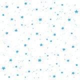Modèle fabriqué à la main de vecteur de neige d'étoiles bleues Bannière de fond de vacances de bonne année et de Noël Photographie stock libre de droits