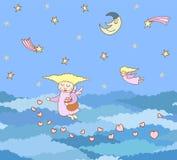 Modèle fait à partir des filles de vol de bande dessinée avec des coeurs sur le Ni illustration stock