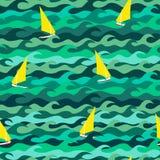 Modèle fait de vagues et yachts de mer Images stock