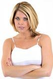 Modèle femelle blond - série d'expression photos stock