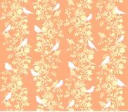 Modèle fleuri floral avec le fond d'oiseaux image stock