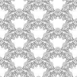 Modèle fleuri monochrome sans couture de vecteur illustration stock