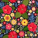 Modèle floral écervelé vibrant avec les fleurs exotiques dans le vecteur Fond coloré sans joint Illustration de vecteur illustration de vecteur