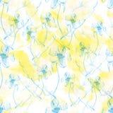 Modèle floral abstrait sans couture jaune et bleu Images stock