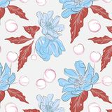 Modèle floral avec des blueflowers, feuilles rouges Illustration tropicale de croquis d'été Texture de vecteur pour le papier wra illustration libre de droits
