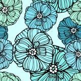 Modèle floral avec des fleurs de pavots Photographie stock