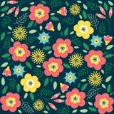 Modèle floral avec des fleurs et des feuilles Modèle mignon avec de petites fleurs Images libres de droits