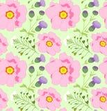 Modèle floral avec les fleurs roses, blanches et lilas Illustration de vecteur Image stock