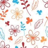 Modèle floral bleu et orange sans couture Illustration élégante de vecteur Pour la copie, carte illustration de vecteur