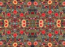 Modèle floral brodé sur le tissu images libres de droits