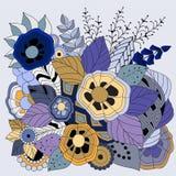 Modèle floral courant de griffonnage de couleur Photo stock