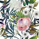 Modèle floral d'aquarelle illustration libre de droits