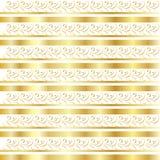 Modèle floral de frontière d'or Photos stock