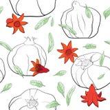 Modèle floral de grenade avec de jeunes fleurs illustration de vecteur