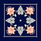 Modèle floral de Paisley sur le fond bleu-foncé batik Écharpe en soie dans le style indonésien illustration libre de droits