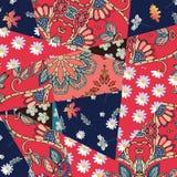 Modèle floral de patchwork de contraste Conception d'été Descripteur de vecteur illustration stock