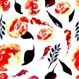 Modèle floral de répétition d'aquarelle Peut être employé comme copie pour le tissu, fond pour épouser l'invitation Photo stock