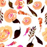 Modèle floral de répétition d'aquarelle Peut être employé comme copie pour le tissu, fond pour épouser l'invitation Images libres de droits