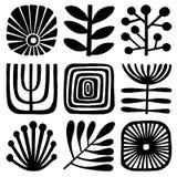 Modèle floral de tuile de vecteur Mosaïque noire et blanche d'ornement illustration stock