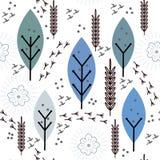 Modèle floral de vecteur sans couture avec des cages à oiseaux Images libres de droits