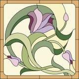 Modèle floral de verre coloré Photos stock