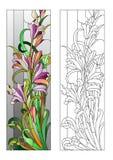 Modèle floral de verre coloré Images stock