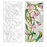 Modèle floral de verre coloré Photographie stock libre de droits