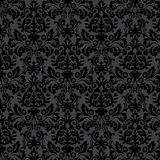 Modèle floral de vintage noir de damassé Image stock