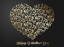 Modèle floral en forme de coeur d'or avec des feuilles Symbole modelé de l'amour 3d avec l'ombre sur le fond foncé Photographie stock libre de droits